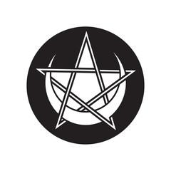 Pentagram with crescent moon vector symbol.