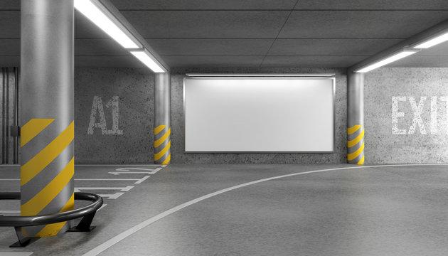 Blank horizontal big poster in an car parking garage under shopping center. Billboard mockup. 3D rendering.