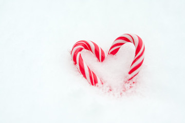 Peppermint heart in snow