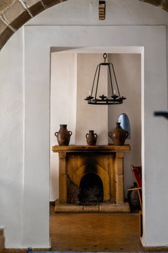 Vases on top of a fireplace