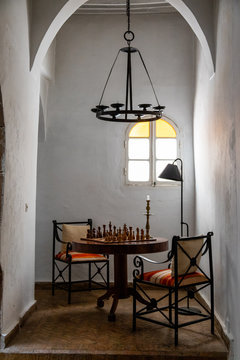 Chess game display in a sitting area