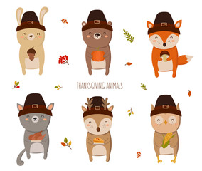 Happy Thanksgiving Collection.  Perfect for greeting card, poster or flyer for holiday. Funny animals holding delicious gift
