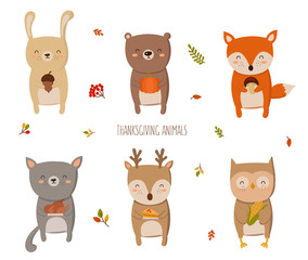 Happy Thanksgiving Collection. Perfect for greeting card, poster or flyer for holiday. Funny animals with gifts