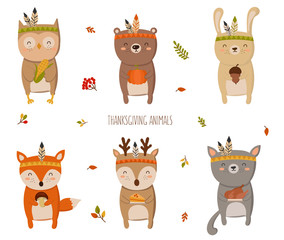 Happy Thanksgiving Collection. Perfect for greeting card, poster or flyer for holiday. Funny tribal animals with gifts