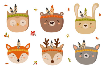 Funny tribal animals heads. Doodle illustration. Autumn holiday, baby shower, birthday, children's party