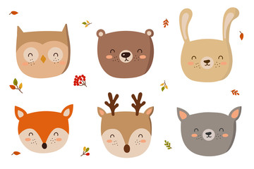 Funny animals faces. Doodle illustration. Autumn holiday, baby shower, birthday, children's party