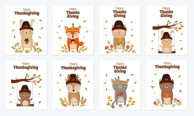 Happy Thanksgiving, greeting card, poster or flyer for holiday. Collection of funny animals holding delicious gift