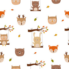 Seamless pattern with funny animals on a white background. Doodle illustration. Thanksgiving day, autumn holiday, baby shower