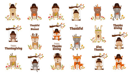 Happy Thanksgiving, greeting card, poster or flyer for holiday. Funny animals collection.