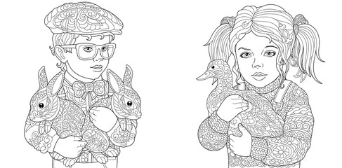Boy and Girl Coloring Pages
