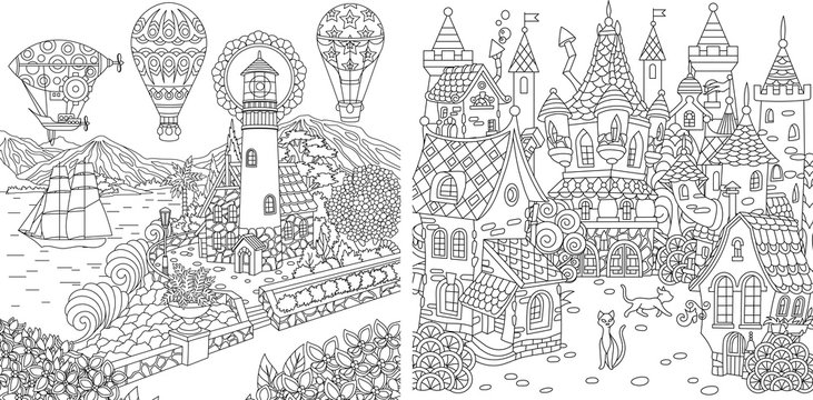 Coloring pages with light house and fairy tale castle