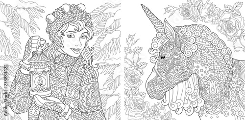 Coloring Pages With Winter Girl And Unicorn Stock Image And Royalty
