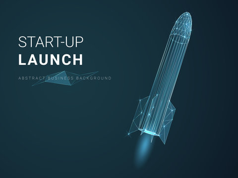 Abstract modern business background depicting startup launch with stars and lines in shape of a rocket ship on blue background.