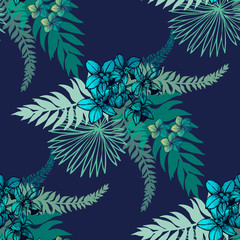 Seamless pattern of hand drawn sketch style flowers and plants. Vector illustration.