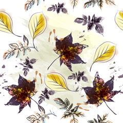 Autumn floral pattern with maple leaves