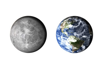 Planet earth. Now and before. Climat concept models. Elements of this image furnished by NASA.