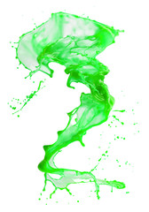 Fototapete - green paint splash isolated on a white background