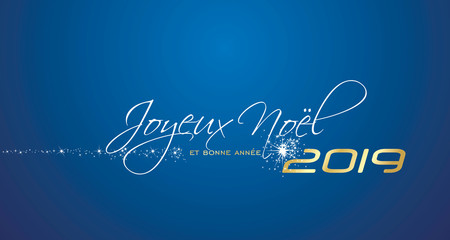Merry Christmas and Happy New Year 2019 French language Joyeux noel et bonne annee blue greeting card