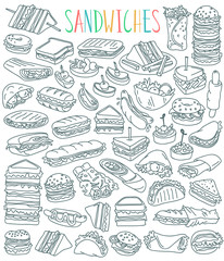 Sandwiches doodles set. Club sandwich, cheeseburger, hamburger, falafel in pita, shawarma, deli wrap, roll, taco, baguette, panini, bagel, toast. Outline vector drawing isolated on white background.
