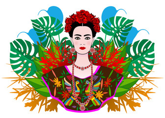Portrait of the young beautiful Mexican woman with a traditional hairstyle. Mexican jewels, crown of flowers and red flowers. Mexican craftsmanship, ethnic dress, death's day. Vector floral background