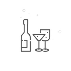 Wedding Alcohol Vector Line Icon, Symbol, Pictogram, Sign. Light Abstract Geometric Background. Editable Stroke