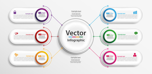 Timeline infographics design vector and marketing icons can be used for workflow layout, diagram, annual report, web design. Business concept with 6 options, steps or processes. Vector eps 10
