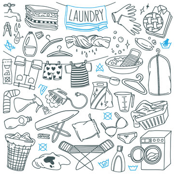 Laundry doodles set. Equipment and facilities for washing, drying and ironing clothes. Hand drawn vector illustration isolated on white background