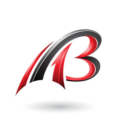 Red and Black Flying Dynamic 3d Letters A and B Vector Illustration
