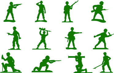 Toy green army men plastic soldiers