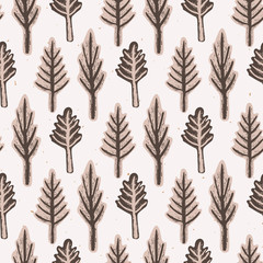 Winter Rustic Fir Tree Lino Cut Texture Seamless Vector Pattern, Sketchy Pine Forest Block Print Style for Xmas Home Decor, Christmas Wallpaper, Nordic Textile, Yule Cards, Festive Holiday Brown Ecru