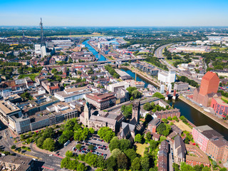 Duisburg city skyline in Germany