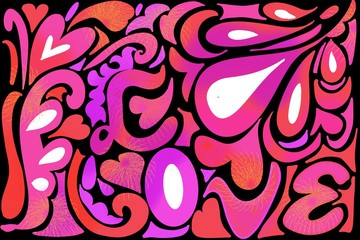 Retro Hippie 60's, 70's LOVE design with hearts and swirls background, in red purple and pinks on black and white