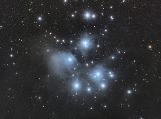 Close up to this nebula called Pleiades also known as Messier 45 in Taurus constellation, taken with 450 mm telescope with many stars as bacground.