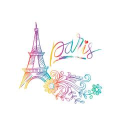 Sketchy of Eiffel tower in Paris. Symbol of France.