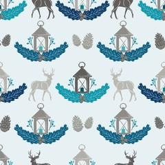 Seamless Vector Woodland Deer, Pine Cone & Candle Lantern Damask in Blue, Turquoise, & Gray