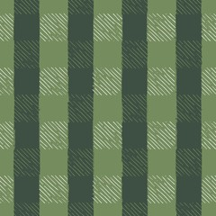 Seamless Vector Hand Drawn Holiday Gingham Inky Sketch in Pea, Forest Green, & White.