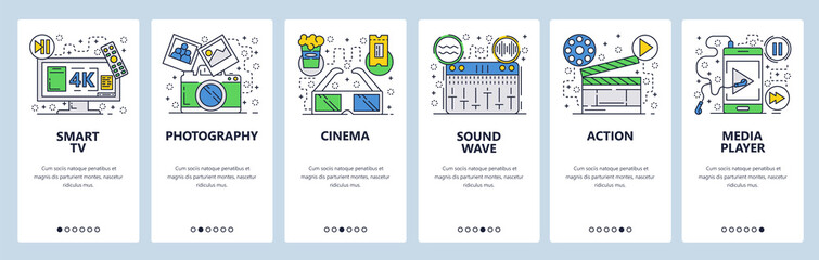 Vector web site linear art onboarding screens template. Media icons, smart 4k tv set, photo camera and cinema 3d glasses, music player and sound mixer. Menu banners for website and mobile app