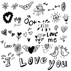 Love drawing sketch vector Idea Concept with Doodle design style :Hand drawn vector illustration set of love element. color background