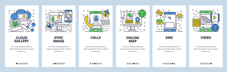 Vector web site linear art onboarding screens template. Mobile phone online services, cloud sync, calls, navigation map and messages. Menu banners for website and mobile app development. Modern design