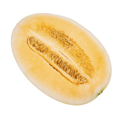 slice of cantaloupe melon, orange melon or japanese melons with seed isolated on white background