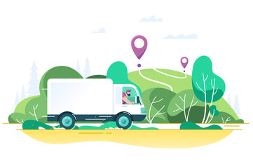 Flat delivery truck with man is carrying parcels on points.