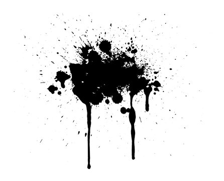Abstract splatter black color background. Paint dripping vector illustration.