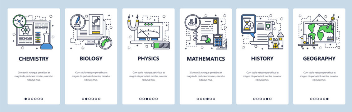 Vector web site linear art onboarding screens template. School education subjects, chemistry, math, physics, biology, history, geography. Menu banners for website and mobile app development. Modern