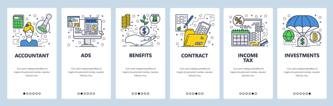 Vector web site linear art onboarding screens template. Accounting, income tax, money investment. Menu banners for website and mobile app development. Modern design flat illustration.