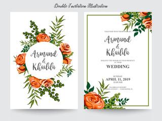 floral watercolor for invitation design illustration
