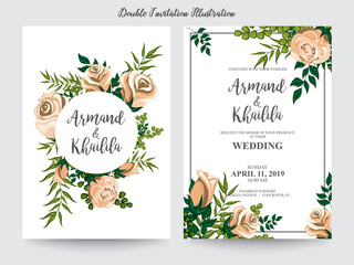 floral watercolor for invitation design illustration