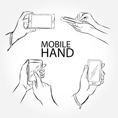 Set of hands with mobile phone. Hand drawn vector doodle illustration.