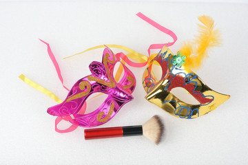 Beauty makeup face hair accessories beautician artist on white background copy space border frame top view