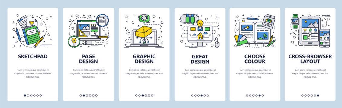 Vector web site linear art onboarding screens template. Computer graphic design and digital art. Menu banners for website and mobile app development. Modern design flat illustration.