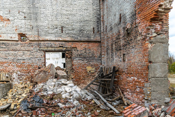 Abandoned and destroyed old brick building